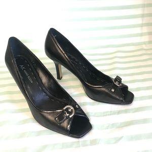 AK Anne Klein Black Leather Peep Toe Heels Size 8